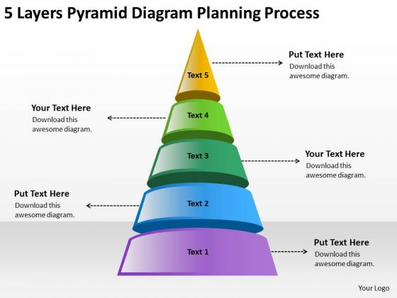 Pyramid Diagram Planning Process Non Profit Business Template PowerPoint Templates