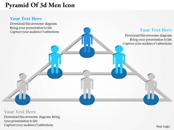 Pyramid Of 3d Men Icon PowerPoint Template
