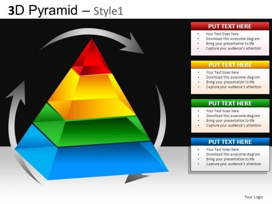 Pyramid Process Diagram PowerPoint Slide