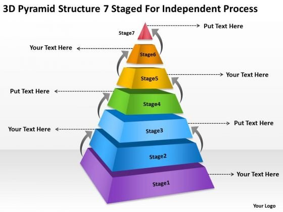 Pyramid Structre 7 Staged For Independent Process Ppt Business Plan Samples PowerPoint Templates