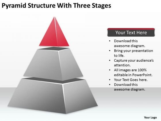 Pyramid Structure With Three Stages Ppt Examples Of Business Plan PowerPoint Slides