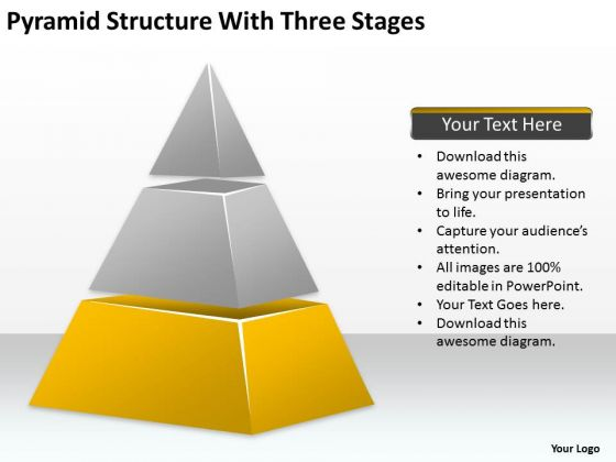 Pyramid Structure With Three Stages Ppt How Do Write Business Plan PowerPoint Templates