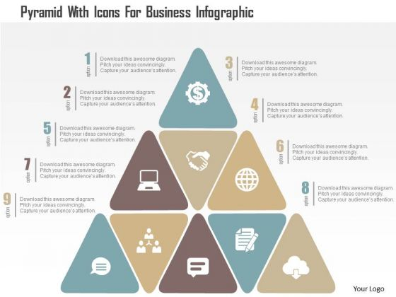Pyramid With Icons For Business Infographic Presentation Template