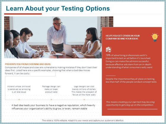 Qualitative Concept Testing Learn About Your Testing Options Ppt PowerPoint Presentation Layouts Brochure PDF