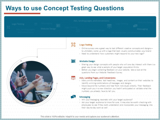 Qualitative Concept Testing Ways To Use Concept Testing Questions Ppt PowerPoint Presentation Show Background Image PDF