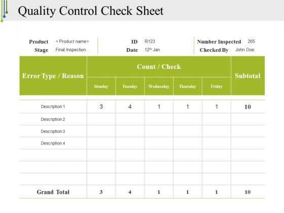 Quality Control Check Sheet Template 2 Ppt Point Presentation File Gridlines Slide 1
