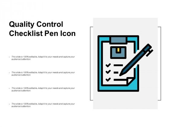 Quality Control Checklist Pen Icon Ppt PowerPoint Presentation Infographics Elements