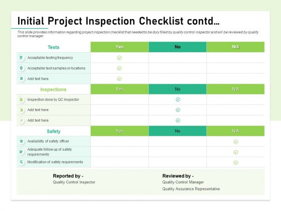 Quality Management Plan QMP Initial Project Inspection Checklist Contd Demonstration PDF