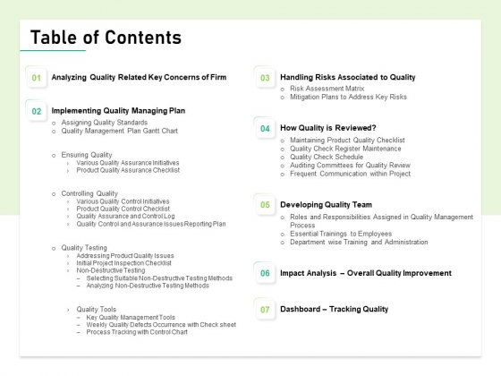 Quality Management Plan QMP Table Of Contents Ppt Infographic Template Outline PDF