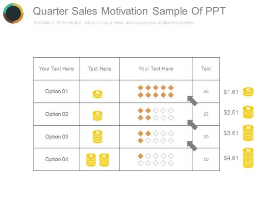 Quarter Sales Motivation Sample Of Ppt