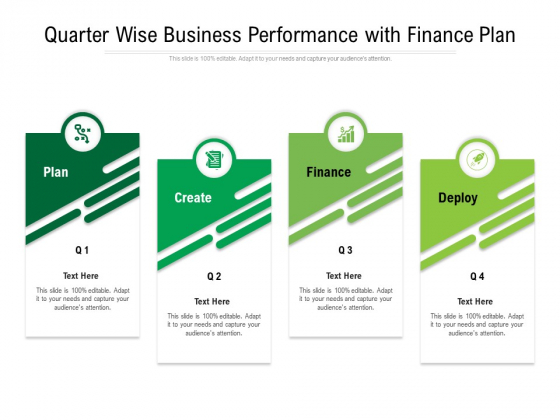 Quarter Wise Business Performance With Finance Plan Ppt PowerPoint Presentation Icon Template PDF