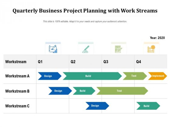 Quarterly Business Project Planning With Work Streams Ppt PowerPoint Presentation Layouts Visual Aids PDF