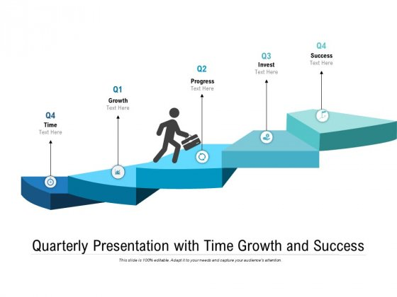 Quarterly Presentation With Time Growth And Success Ppt PowerPoint Presentation Portfolio Infographics PDF