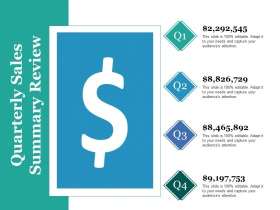 Quarterly Sales Summary Review Ppt PowerPoint Presentation Infographics