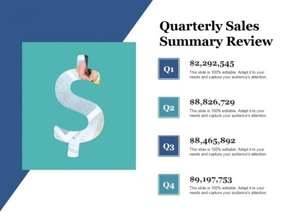 Quarterly Sales Summary Review Ppt PowerPoint Presentation Styles Good