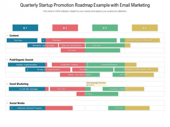 Quarterly Startup Promotion Roadmap Example With Email Marketing Topics