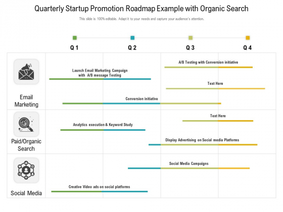 Quarterly Startup Promotion Roadmap Example With Organic Search Designs