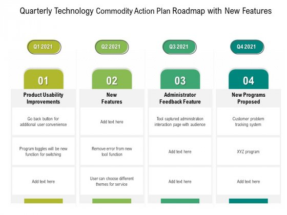Quarterly Technology Product Strategy Roadmap With New Features Microsoft