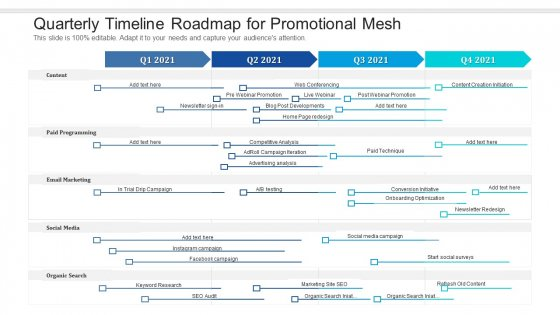 Quarterly Timeline Roadmap For Promotional Mesh Introduction