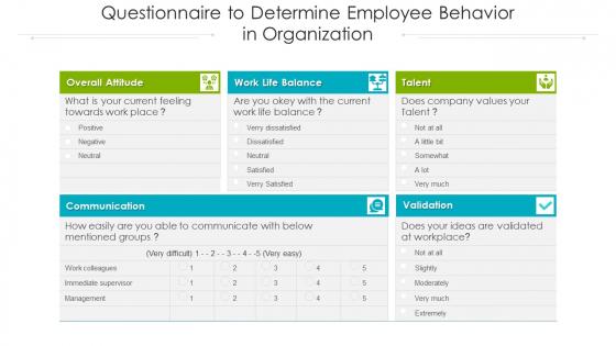 Questionnaire To Determine Employee Behavior In Organization Ppt PowerPoint Presentation Model Gridlines PDF