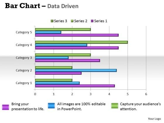 Quantitative Data Analysis Bar Chart For Different Categories PowerPoint Templates