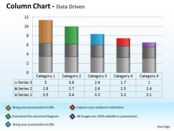 Quantitative Data Analysis Driven Economic With Column Chart PowerPoint Slides Templates