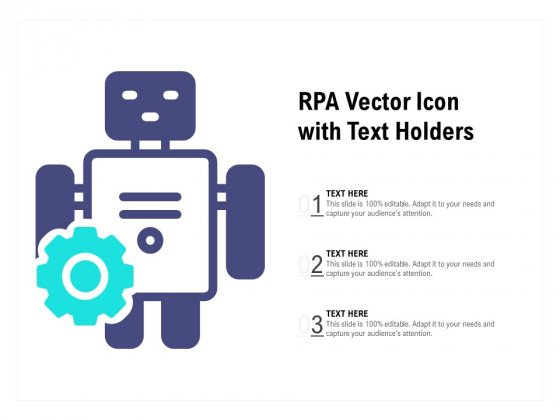 RPA Vector Icon With Text Holders Ppt PowerPoint Presentation Styles Design Inspiration