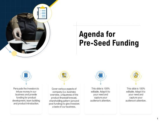 Raise Funding From Pre Seed Money Agenda For Pre Seed Funding Inspiration PDF