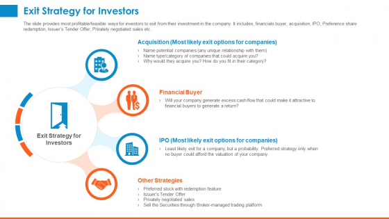 Raising_Company_Capital_From_Public_Funding_Sources_Exit_Strategy_For_Investors_Formats_PDF_Slide_1