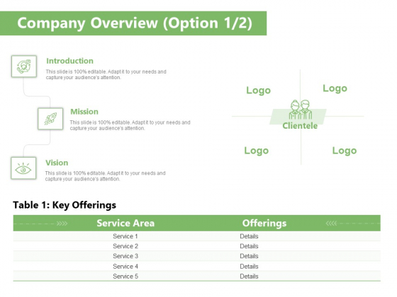Raising Funds Company Company Overview Option Ppt Infographics Grid PDF