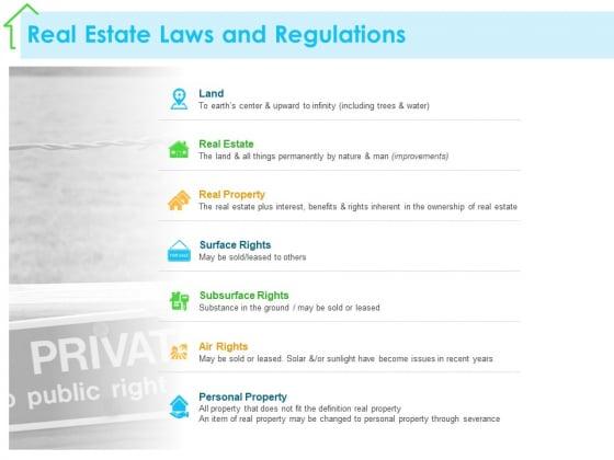 Real Estate Development Real Estate Laws And Regulations Ppt PowerPoint Presentation Show Slide Download PDF