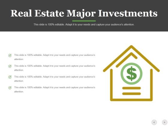 Real Estate Major Investments Template 1 Ppt PowerPoint Presentation Portfolio Design Templates