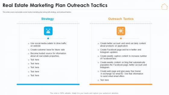 Real Estate Marketing Strategy Vendors Real Estate Marketing Plan Outreach Tactics Brochure PDF