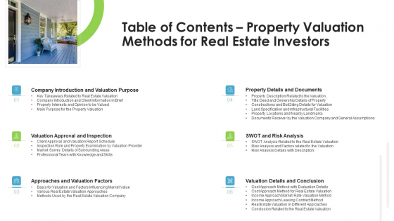 Real Estate Valuation Approaches For Property Shareholders Table Of Contents Property Valuation Methods For Real Estate Investors Background PDF