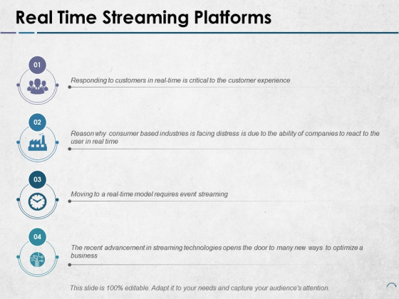 Real Time Streaming Platforms Ppt PowerPoint Presentation Summary Microsoft