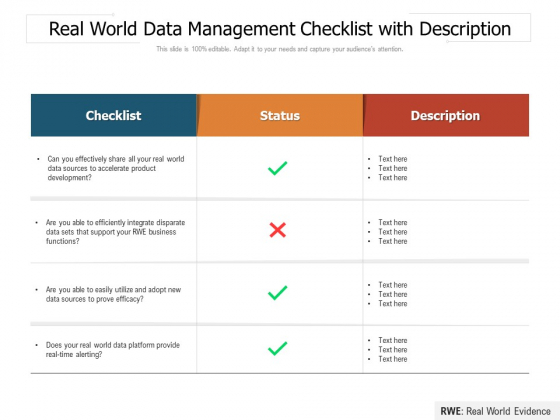 Real World Data Management Checklist With Description Ppt PowerPoint Presentation File Layout PDF