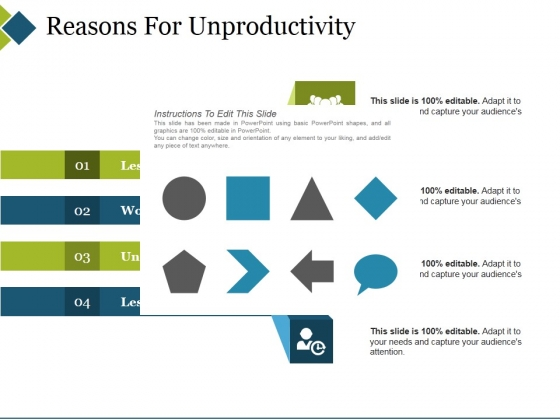 Reasons For Unproductivity Ppt PowerPoint Presentation Gallery Design Ideas