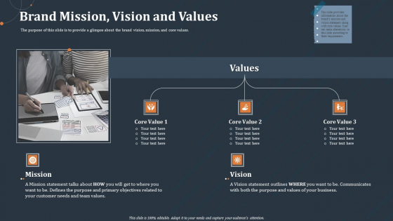 Rebranding Strategy Brand Mission Vision And Values Ppt PowerPoint Presentation Gallery Outfit PDF