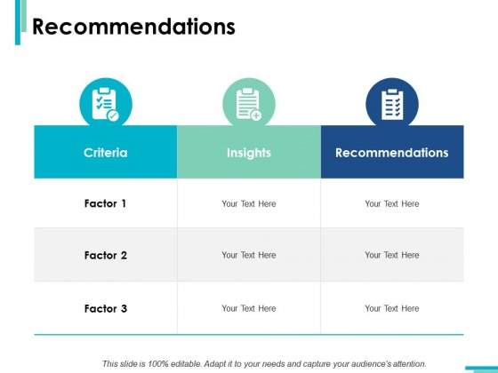 Recommendations Criteria Ppt PowerPoint Presentation Slides Visual Aids