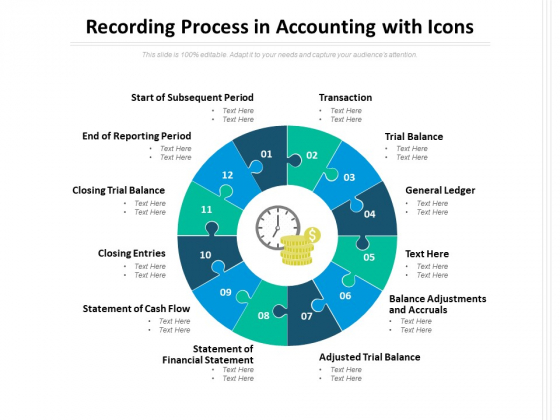 Recording Process In Accounting With Icons Ppt PowerPoint Presentation Ideas Slideshow