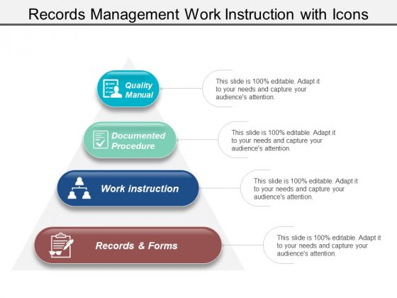 Records Management Work Instruction With Icons Ppt PowerPoint Presentation Inspiration Infographic Template
