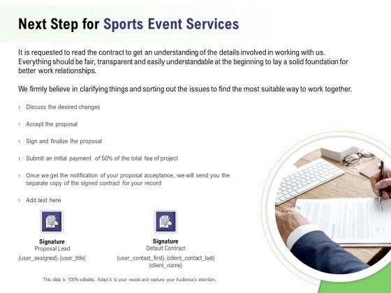 Recreational Program Proposal Next Step For Sports Event Services Ppt Model Background Image PDF
