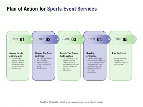 Recreational Program Proposal Plan Of Action For Sports Event Services Ppt Gallery Slide Download PDF