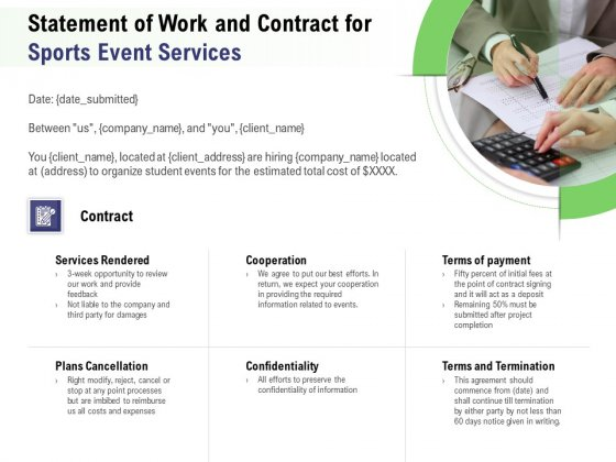 Recreational Program Proposal Statement Of Work And Contract For Sports Event Services Ppt Outline Visuals PDF