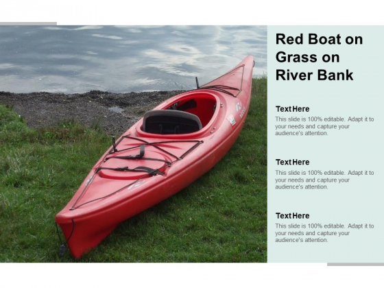 Red Boat On Grass On River Bank Ppt PowerPoint Presentation Layouts Designs Download