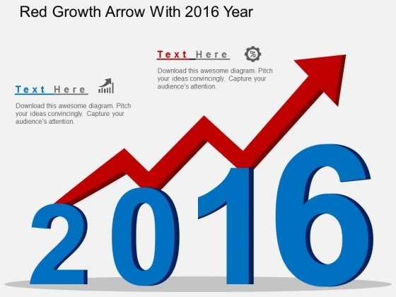 Red Growth Arrow With 2016 Year Powerpoint Templates