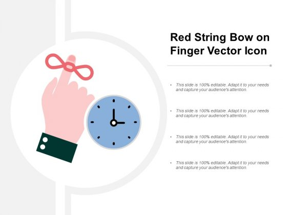 Red String Bow On Finger Vector Icon Ppt PowerPoint Presentation Pictures Themes