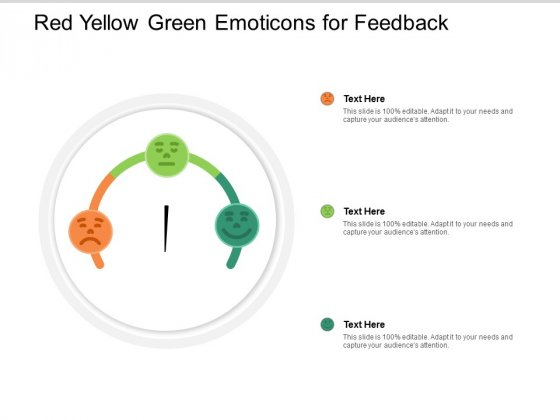 Red Yellow Green Emoticons For Feedback Ppt PowerPoint Presentation Infographics Deck