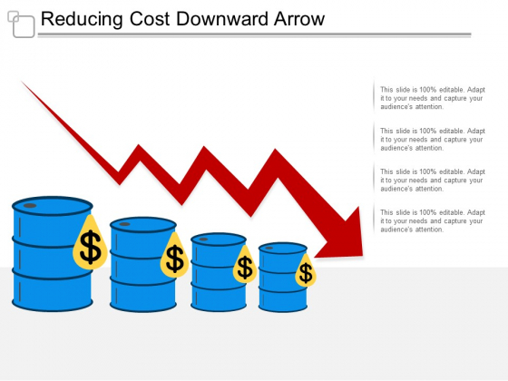 Reducing Cost Downward Arrow Ppt Powerpoint Presentation Outline Inspiration