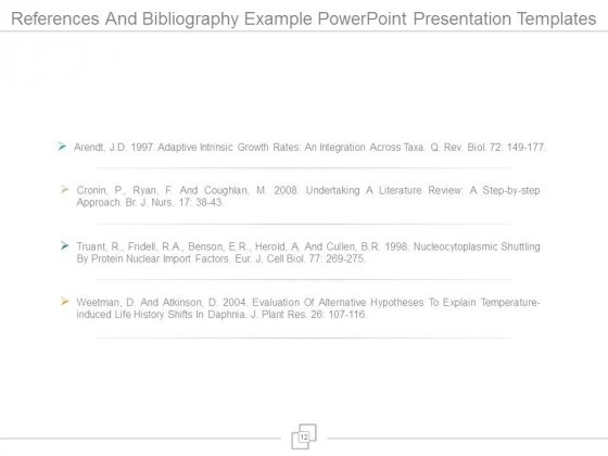 References And Bibliography Example Powerpoint Presentation Templates